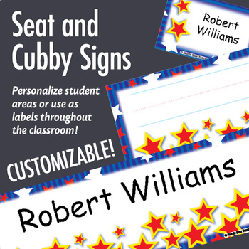 NSD5004 Stars & Stripes Editable Seat and Cubby Signs