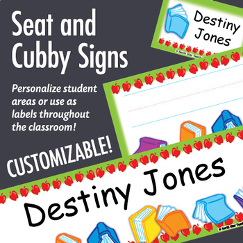 NSD5005 Apples & Books Editable Seat and Cubby Signs