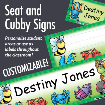 NSD5006 Bugs Editable Seat and Cubby Signs
