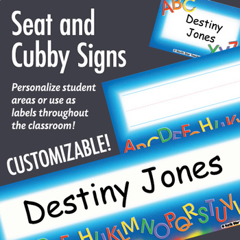 NSD5007 Alphabet Editable Seat and Cubby Signs