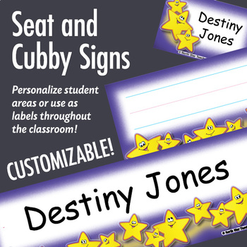 NSD5008 Smiley Stars Editable Seat and Cubby Signs