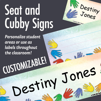 NSD5010 Handprints Editable Seat and Cubby Signs