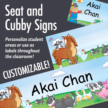 NSD5011 Farm Animals Editable Seat and Cubby Signs