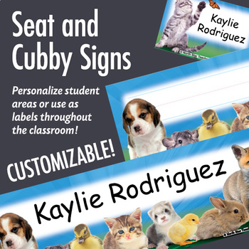 NSD5016 Baby Animals Editable Seat and Cubby Signs