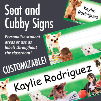 NSD5018 Playful Pups Editable Seat and Cubby Signs