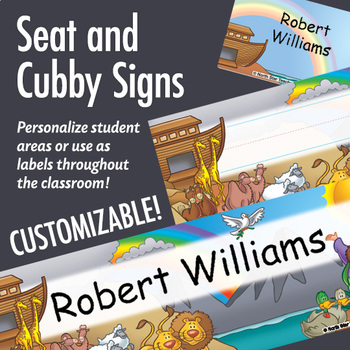 NSD5100 Noah's Ark Editable Seat and Cubby Signs