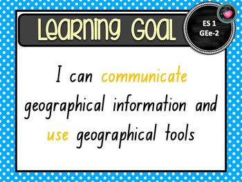 NSW CURRICULUM Early STAGE 1 GEOGRAPHY Learning Goals Editable Success Criteria