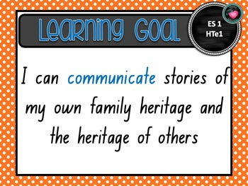 NSW CURRICULUM Early STAGE 1 HISTORY Learning Goals & Editable Success Criteria