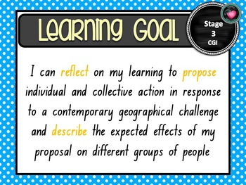 NSW CURRICULUM STAGE 3 GEOGRAPHY Learning Goals & Editable Success Criteria