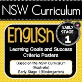 NSW English Early stage 1 (K) Learning Goals Posters & EDITABLE Success Criteria
