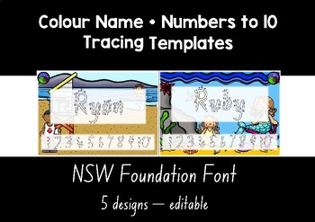 NSW FOUNDATION  FONT colour name + numbers to 10 tracing templates EDITABLE