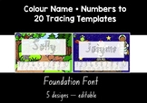 NSW FOUNDATION FONT  colour name + numbers to 20 tracing templates EDITABLE