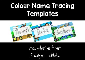 NSW FOUNDATION colour name tracing templates EDITABLE 5 designs