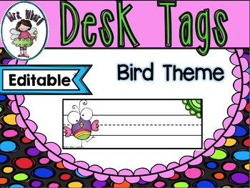 NSW Font Desk Tag Bird Theme {Editable}