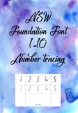 NSW Foundation Font 1-10 tracing and writing worksheet