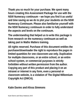 NSW Numeracy Continuum Assessment Package K-6
