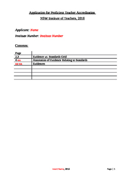 NSW Profficient Teacher Accreditation Starter