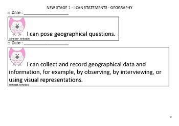NSW Syllabus - Stage 1 - Geography - I can statements