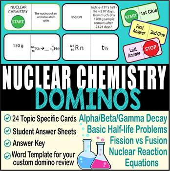 Evan silberstein chemistry answers ebook 80 off choice image free half life problems teaching resources teachers pay teachers nuclear chemistry domino review 24 cards answer sheets fandeluxe Images