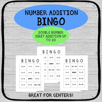 NUMBER ADDITION BINGO ACTIVITY - DOUBLE NUMBER DIGIT UP TO 20