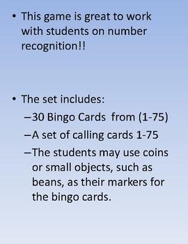 NUMBER BINGO! (1-75) - Number Recognition