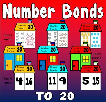 NUMBER BONDS CARDS TO 20 - ADDITION MATHS NUMERACY DISPLAY EYFS KS1