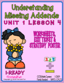 NUMBER BONDS MISSING ADDENDS WORKSHEET POSTER & EXIT TICKET  i-READY COMMON CORE