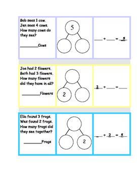 NUMBER BONDS for 3, 4 & 5 Word Problem Math Station
