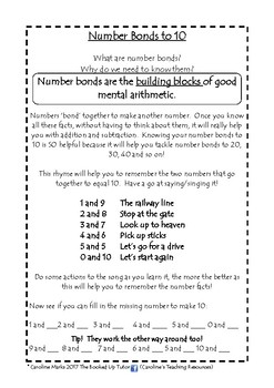 NUMBER BONDS to 10 Sing your bonds!  Includes easy rhyme + 2 worksheets