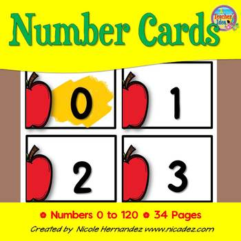 NUMBER CARDS 0 -120 - Apple Themed (Tens Highlighted)