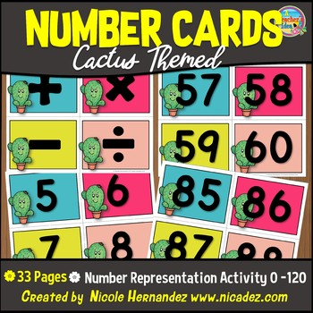 NUMBER CARDS 0 -120 - CACTUS Themed with Basic Math Symbol Cards