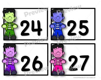 NUMBER CARDS 0 -120 - Frankenstein Themed (Tens Highlighted)