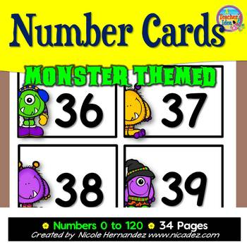 NUMBER CARDS 0 -120 - Monster Themed (Tens Highlighted)