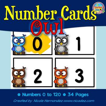NUMBER CARDS 0 -120 - Owl Themed (Tens Highlighted)
