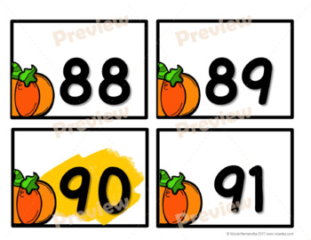 NUMBER CARDS 0 -120 - Pumpkin Themed (Tens Highlighted)