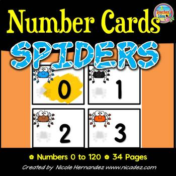 NUMBER CARDS 0 -120 - Spider Themed (Tens Highlighted)