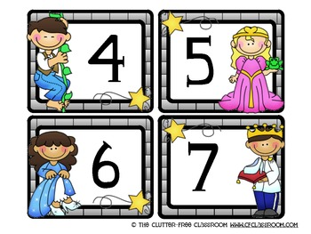 NUMBER CARDS / CALENDAR for a FAIRY TALE CLASSROOM THEME