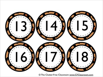 NUMBER CARDS / CALENDAR for a JUNGLE ~ SAFARI CLASSROOM THEME