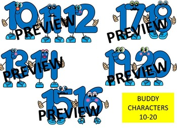 NUMBER CHARACTERS 1-20 CLIPART GRAPHICS (80 IMAGES) Commercial Use