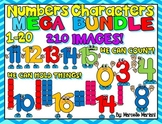 NUMBERS 1-20 CLIP ART BUNDLE-NUMBER CARTOONS CLIPART (210 IMAGES) Commercial Use