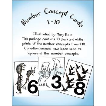 NUMBER CONCEPT CARDS 1-10 (ANIMAL PICTURES) Gr. K-3
