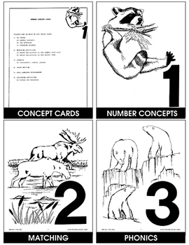 NUMBER CONCEPT CARDS 1-10 (ANIMAL PICTURES) Gr. K-3