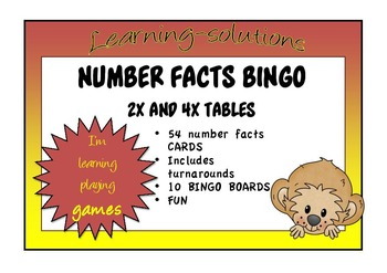 NUMBER FACTS BINGO - Double Ups - 2x and 4x tables with Turnarounds