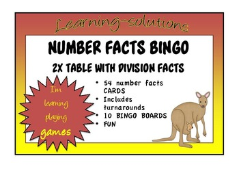 NUMBER FACTS BINGO - 2x table with Division Facts