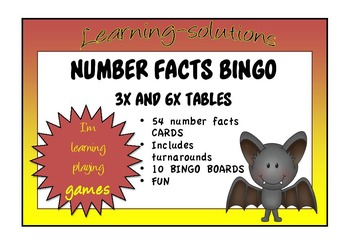 NUMBER FACTS BINGO - Double Ups - 3x and 6x tables with Turnarounds