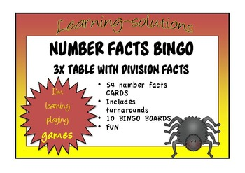 NUMBER FACTS BINGO - 3x table with Division Facts