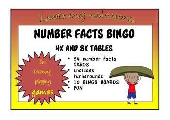 NUMBER FACTS BINGO - Double-Ups - 4x and 8x Tables with Turnarounds