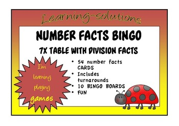 NUMBER FACTS BINGO - 7x table with Division Facts