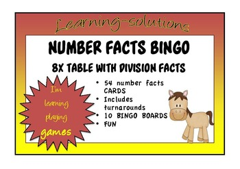 NUMBER FACTS BINGO - 8x with Division Facts