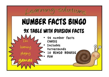 NUMBER FACTS BINGO - 9x table with Division Facts